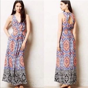 ANTHROPOLOGIE MAEVE maxi dress silk medallion 8